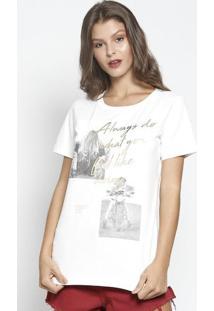 Camiseta Com Inscrições Metalizadas - Off White & Douradsommer