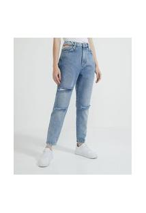 Calça Mom Jeans Com Recorte Vazado Na Lateral | Blue Steel | Azul | 46