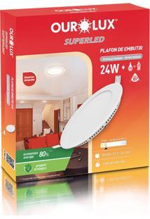 Plafon Redondo Embutir Branco (2700 K 24W)