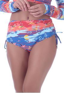 Calcinha Summer Soul Hot Pants Com Amarração Garça Laranja/Azul