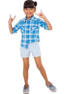 Bermuda Infantil Reserva Mini Alfaiataria Reserva Feminina - Feminino-Azul Claro