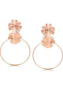 Brinco De Argola Frontal Com Duas Flores Texturizadas Folheado Em Ouro Rosé - 2180000001790