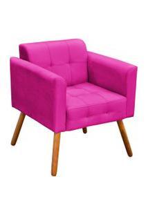 Poltrona D'Rossi Decorativa Elisa Suede Pink Pés Palito