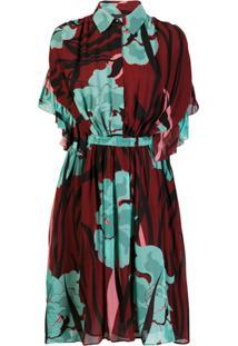 Just Cavalli Vestido Midi Com Estampa Floral - Vermelho