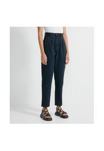 Calça Mom Em Jeans Com Pregas No Cós   Blue Steel   Preto   34