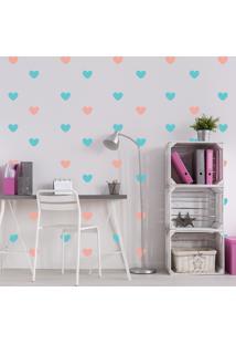 Adesivo De Parede Infantil Quartinhos Coração Rosa E Azul
