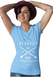 Camiseta Feminina Gola V Ezok Respect Azul Claro - Kanui