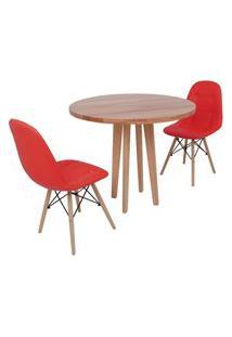 Conjunto Mesa De Jantar Em Madeira 90Cm Com Base Vértice + 2 Cadeiras Botonê - Vermelho
