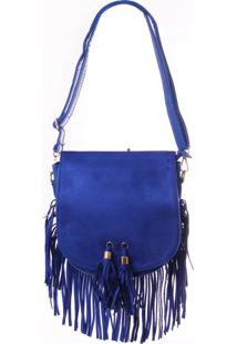 Bolsa Real Arte Camurça Com Franjas Azul.