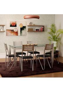 Conjunto De Mesa Reno Com 6 Cadeiras Nápolis Preto E Cromado