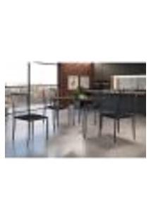 Conjunto De Mesa De Jantar Grécia Com Tampo Siena E 4 Cadeiras Atos Couríssimo Preto E Grafite