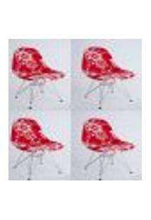 Kit Com 04 Capas Para Cadeira Charles Eames Eiffel Wood Floral Branco Com Vermelho