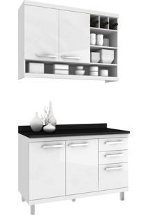 Cozinha New Vitoria 16 Hecol Móveis Branco