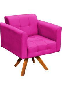 Poltrona Decorativa Giratória Gran Elisa Base Madeira Suede Pink - D'Rossi