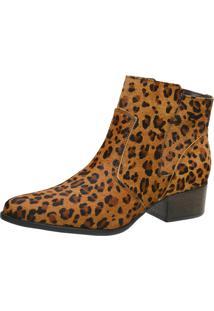 Bota Animal Print Pelo Leopardo Cano Curto Leopardo