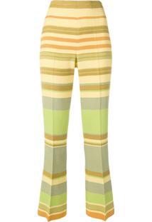 e34576cbf0 Farfetch. Calça Feminina Listras Textura Amarela Flare ...