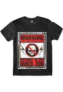 Camiseta Bsc Caveira Perigo Sublimada Masculina - Masculino-Preto