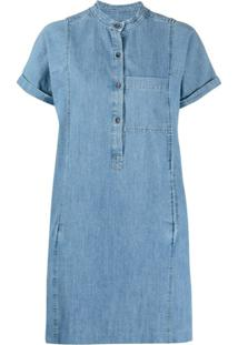A.P.C. Vestido Jeans Mangas Curtas - Azul