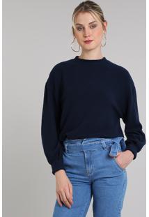 Blusão Feminino Em Fleece Decote Redondo Azul Marinho
