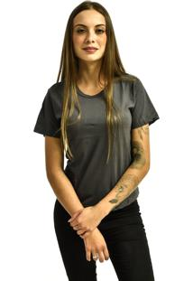 Camiseta Nakia Baby Look Gola Careca Bã¡Sica Feminina Lisa Manga Curta Cinza Chumbo - Cinza - Feminino - Dafiti