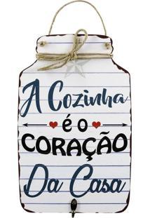Decorativo Kasa Ideia Tag A Cozinha É O Coração Branco De Madeira 30X19Cm
