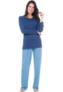 Pijama Longo Malha Homewear Azul | 589.0711