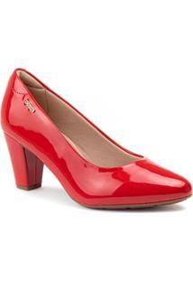 Sapato Scarpin Modare Verniz Feminino - Feminino-Vermelho