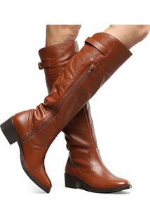 Bota Couro Montaria Shoestock Flat Feminina - Feminino-Marrom