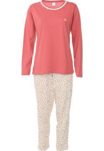Pijama Pzama Floral Rosa