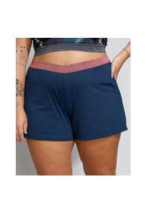 Short Feminino Plus Size Esportivo Ace Running Texturizado Azul Marinho