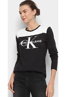 Blusa Calvin Klein Estampada Manga Longa Feminina - Feminino