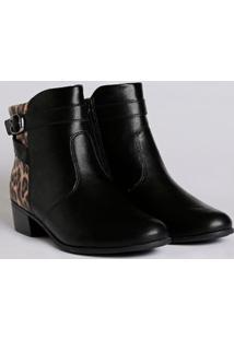 Bota Ankle Boot Animal Print Feminina Comfortflex Preto