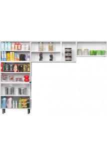 Cozinha Compacta 3 Peças, 3 Portas De Vidro Sem Balcão Premium Itatiaia Branco/Preto