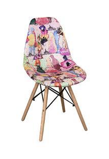 Cadeira Eiffel Charles Eames Estofada Princesas Rosa F01 Base Madeira