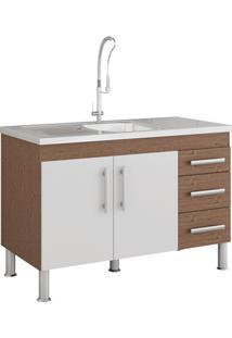 Gabinete Para Cozinha Flex 80X114Cm Amêndoa E Branco