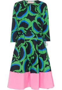 Marni Printed Midi-Dress - Verde