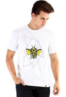 Camiseta Ouroboros Manga Curta Abelha Geométrica - Masculino-Branco
