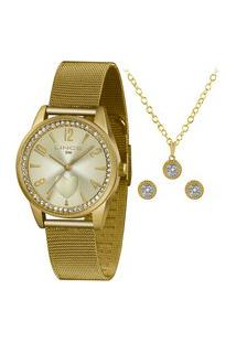Kit Relógio Lince Feminino Funny Analógico Dourado Lrgj106L-Kx73C2Kx