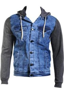 Jaqueta Jeans Lavado Moletom Escuro Capuz - Feminino