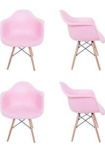 Kit 4 Cadeiras Eiffel Melbourne Rosa Com Pés Palito Em Madeira - Mp Decor