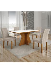 Conjunto De Mesa De Jantar Creta Ii Com 4 Cadeiras Olímpia Suede Branco E Palha