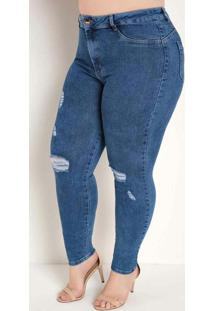 Calça Jeans Cigarrete Destroyed Plus Size Sawary