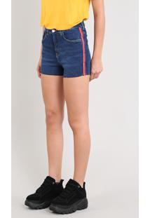 Short Jeans Feminino Vintage Com Faixa Lateral Azul Escuro