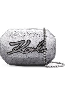 Karl Lagerfeld K Signature Glitter Clutch - Cinza
