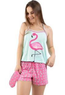 Pijama Baby Doll 4 Estações Flamingo Com Tapa Olho Feminino - Feminino-Verde