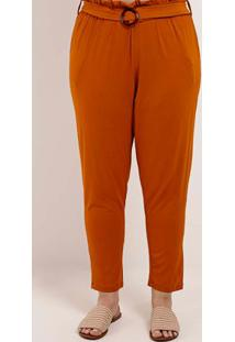 Calça De Tecido Plus Size Feminina Autentique Telha