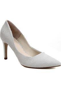 Scarpin Couro Shoestock Salto Alto Cobra - Feminino-Branco