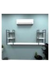 Estante Industrial Escritório Aço Cor Preto 180X30X68Cm (C)X(L)X(A) Cor Mdf Branco Modelo Ind30Bes