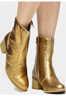 Bota Couro Cano Médio Shoestock Salto Bloco - Feminino-Dourado