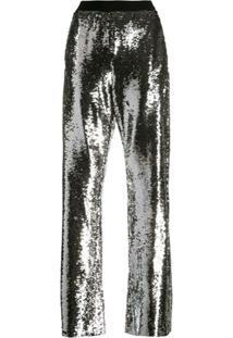 Golden Goose Calça Pantalona Com Aplicação De Paetês - Prateado